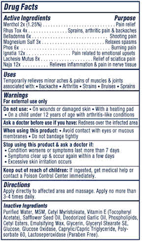 Rub On Relief Supplement Facts